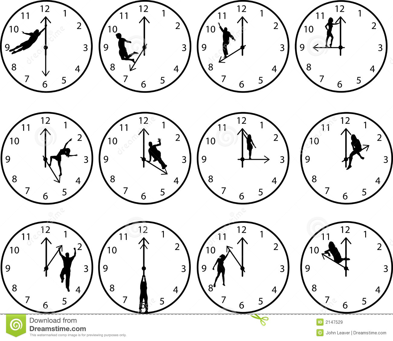 Clocks with people stock vector. Illustration of sitting