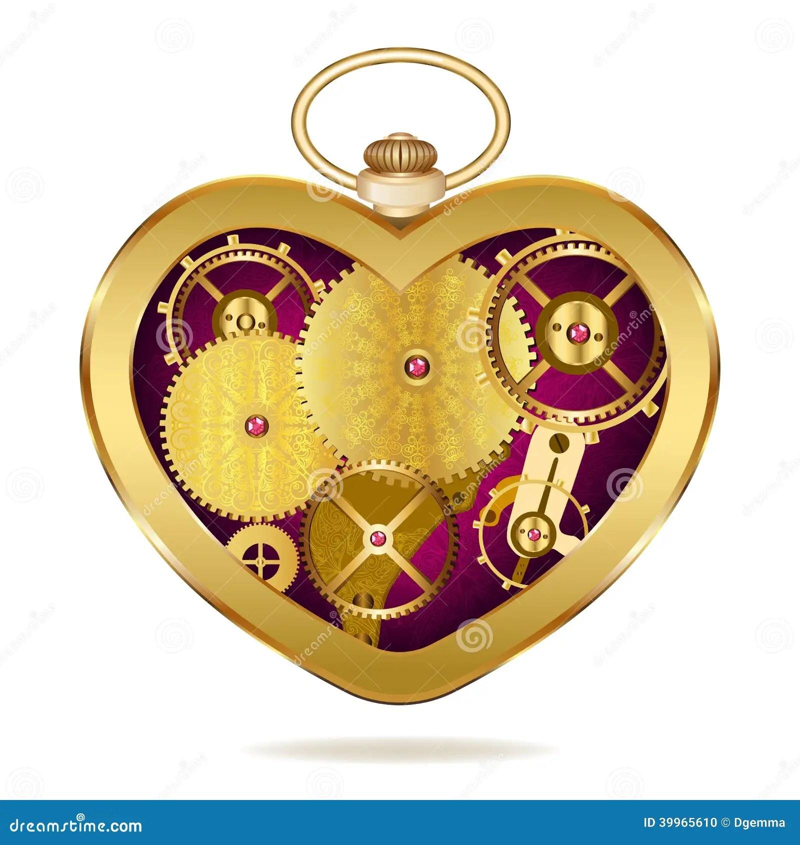 clockwork heart shaped clock