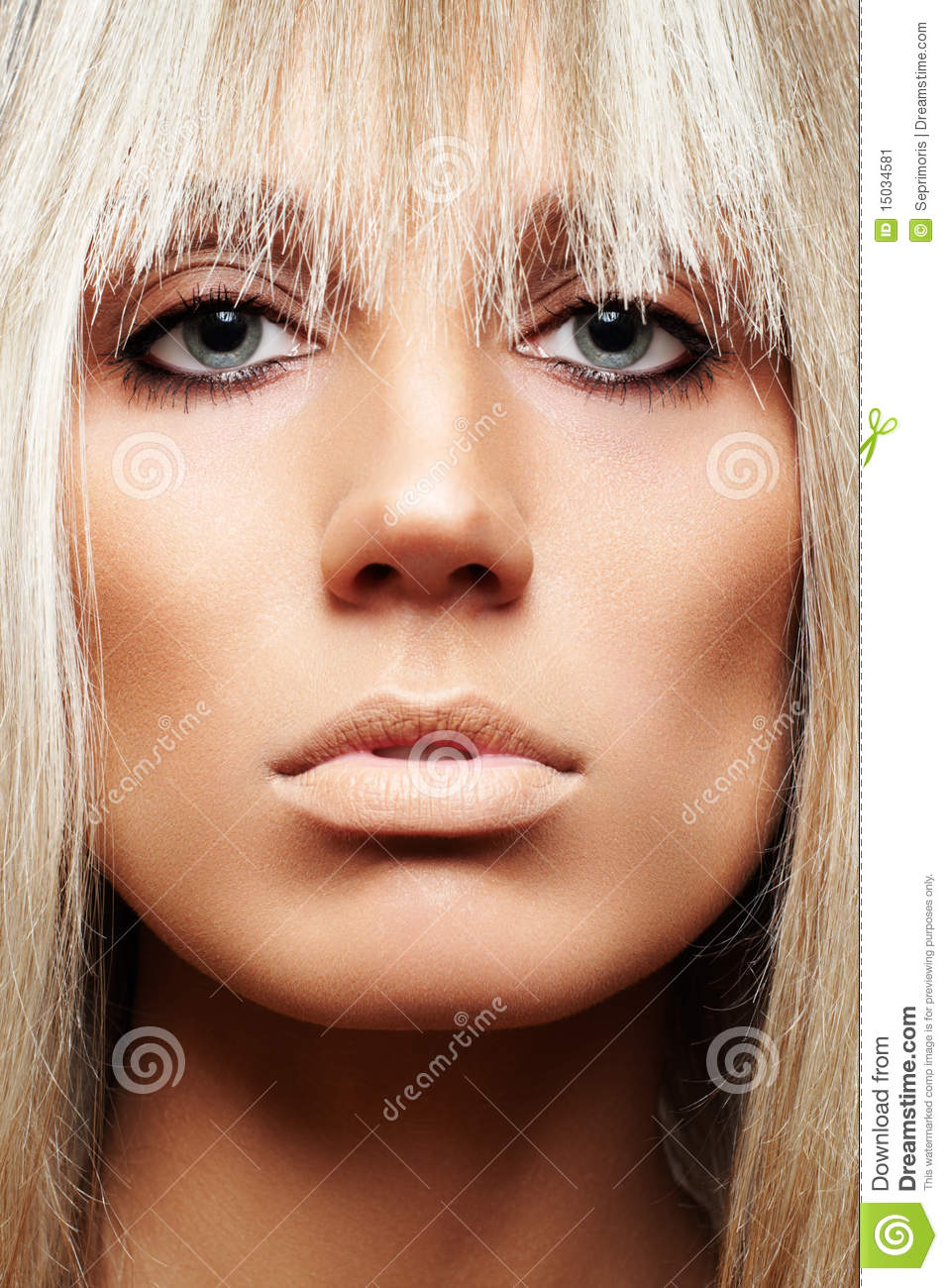 Close Up Of Beauty With Strict Hairstyle Amp Make Up Stock