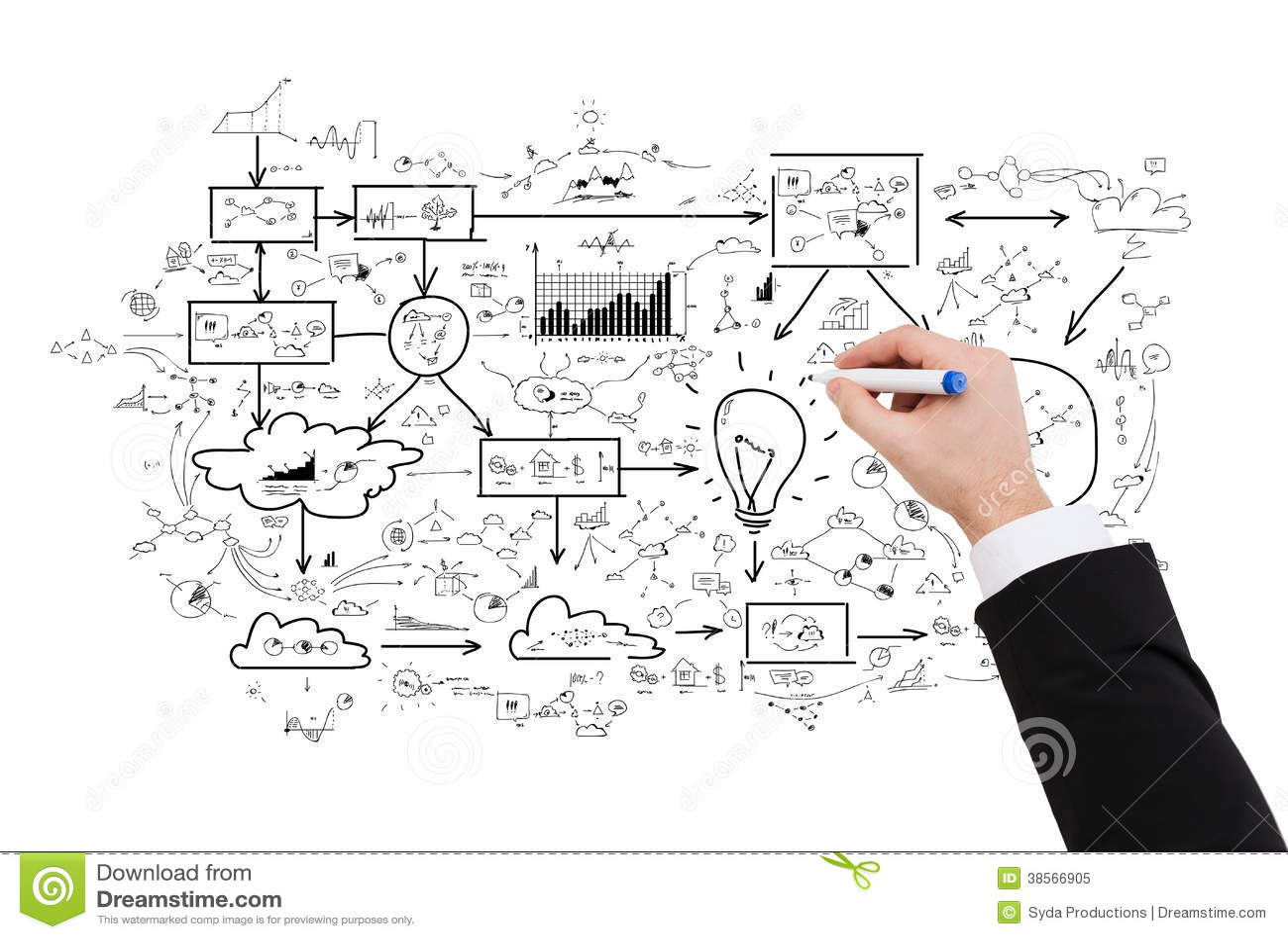 Close Up Of Businessman Drawing Big Plan Stock
