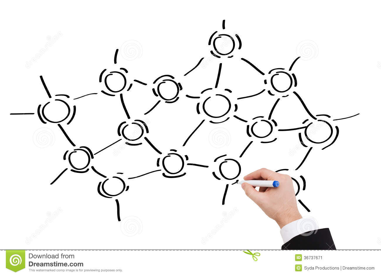 Close Up Of Businessman Drawing Molecules Stock Image