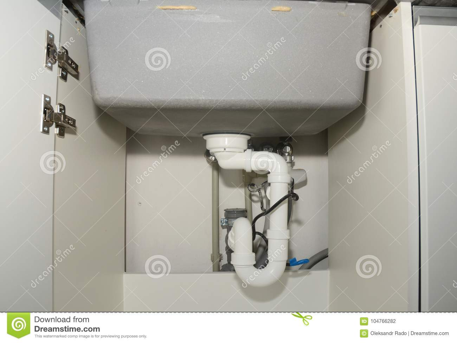 https www dreamstime com close up ceramic kitchen sink installation sink drain tubes plumbing ceramic kitchen sink installation sink drain image104766282