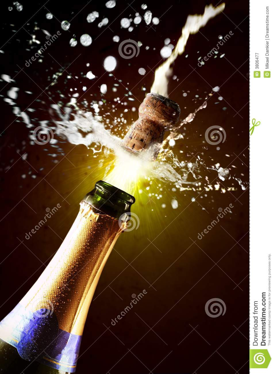 Close Up Of Champagne Cork Popping Royalty Free Stock