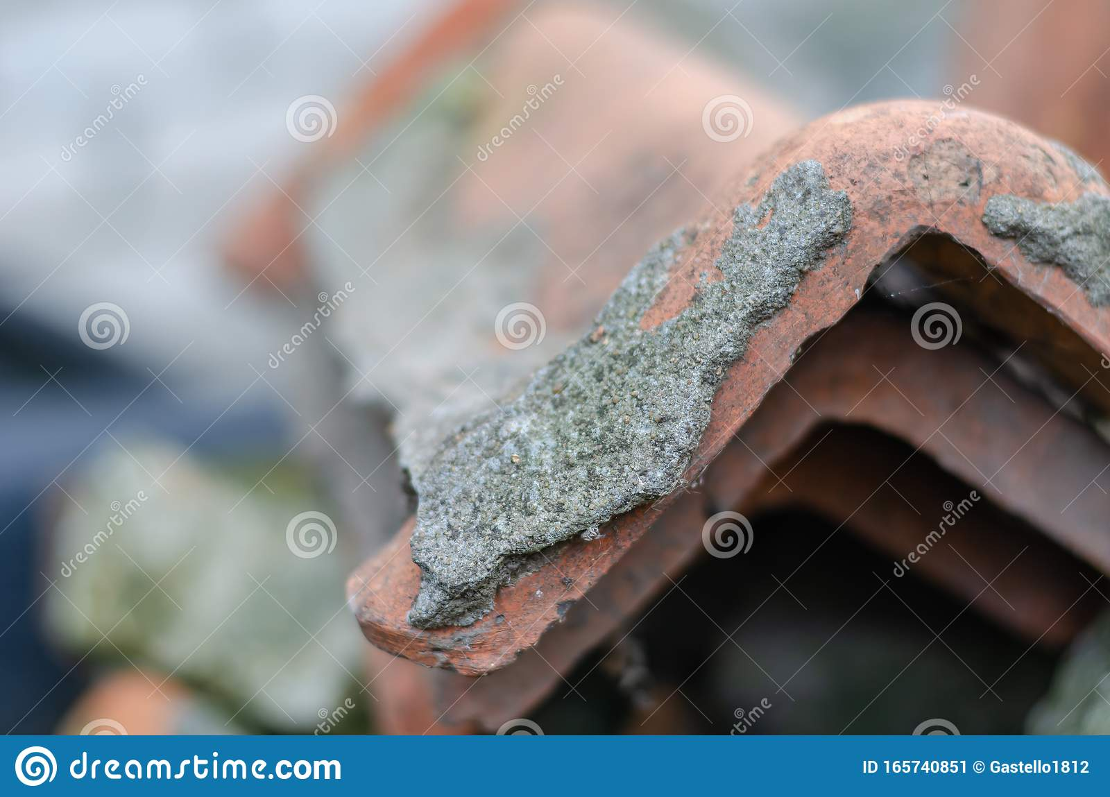 https www dreamstime com close up clay roof tiles used roof ridge traces cement mortar blurred background concept craft eye level image165740851