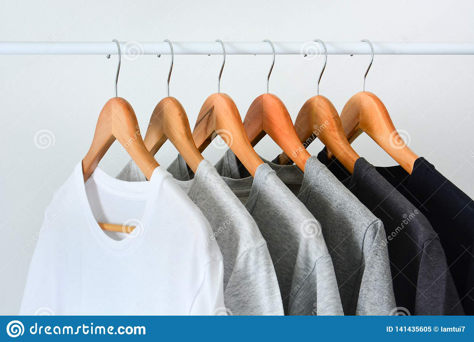 https www dreamstime com close up collection black gray white color monochrome hanging wooden clothes hanger closet clothing rack over image141435605