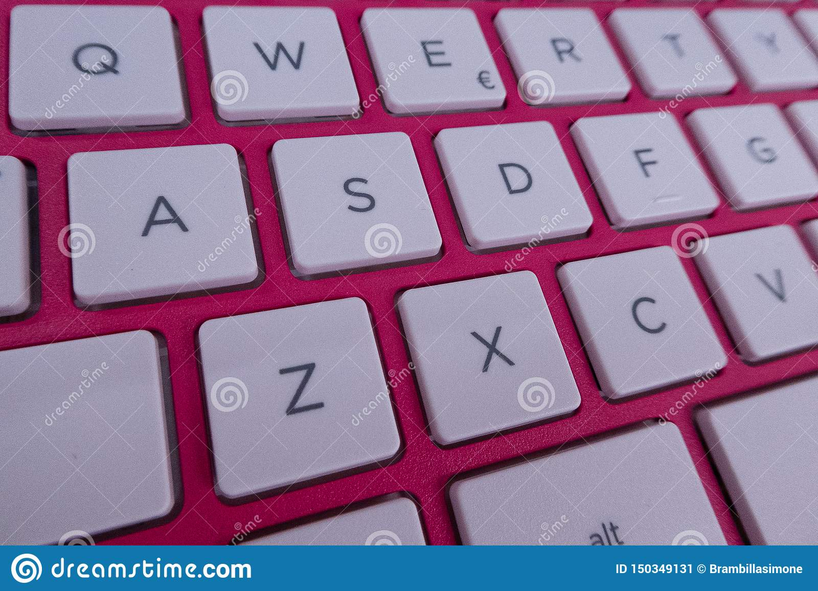Close Up Detail Of A Qwerty Keyboard Of A Laptop Pc Stock