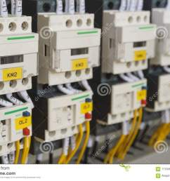 close up electrical wiring with fuses and contactors in control panel box of automatic machine  [ 1300 x 951 Pixel ]