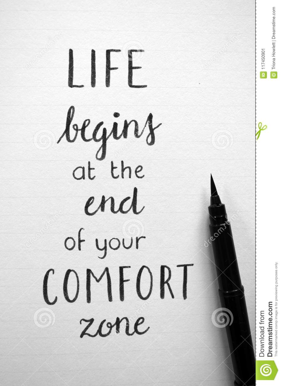 Life Begins At The End Of Your Comfort Zone Quote : begins, comfort, quote, Close-up, `LIFE, BEGINS, COMFORT, ZONE`, Hand-lettered, Notebook, Stock, Image, Lettering,, Comfort:, 117450901