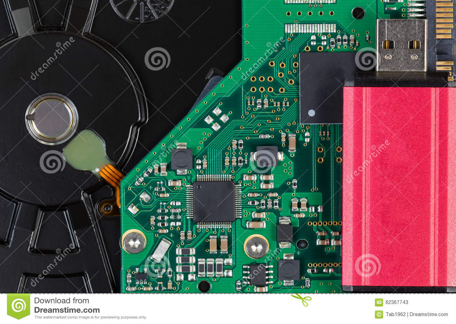 Close Up Of Modern Data Backup Thumb Drive And External