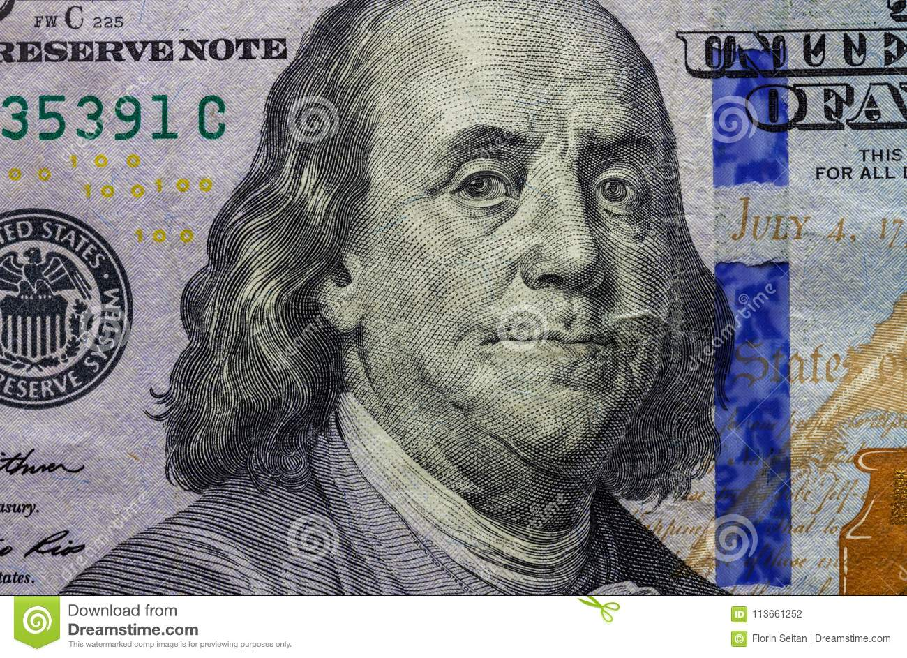 Close Up Of One Hundred Dollar Banknote Showing Portrait