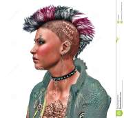 close- of punk girl with brightly