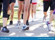 Feet Running On Street