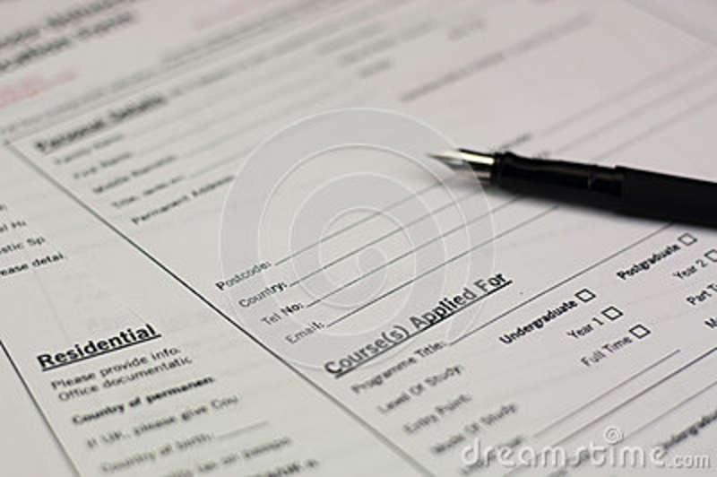 Close Up Of A University Application Form Stock Image