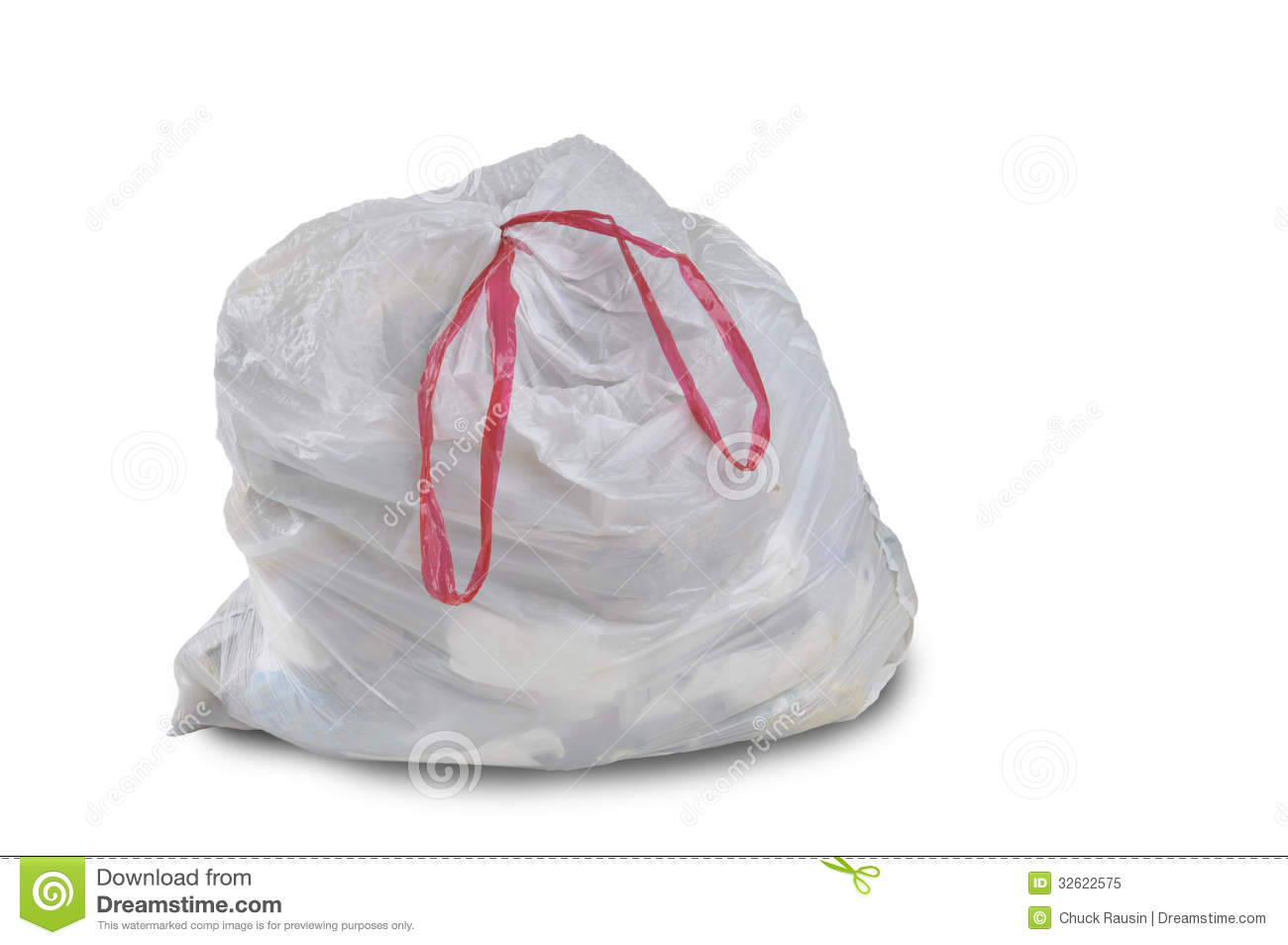 A Close Up Of A White Garbage Trash Bag Royalty Free Stock
