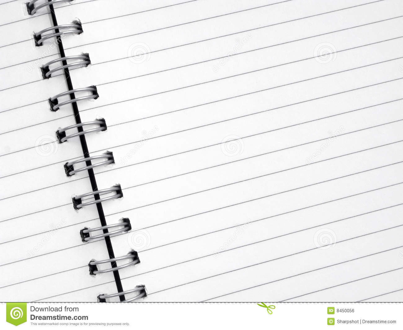 Close Up White Lined Paper In A Spiral Notepad Royalty