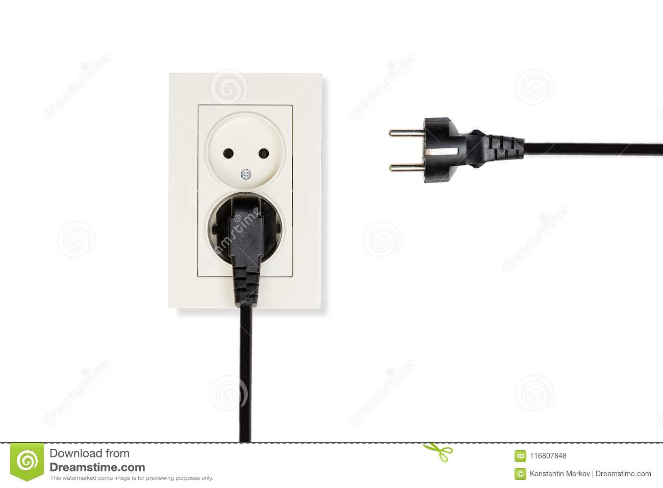 hight resolution of beige double electrical outlet and two wires with plugs
