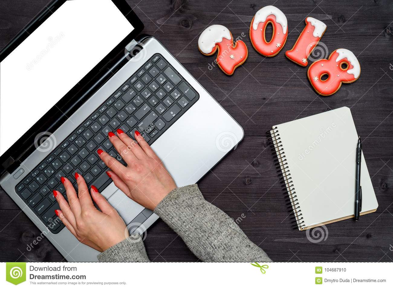 Closeup Of Business Woman Hands Typing On Open Laptop