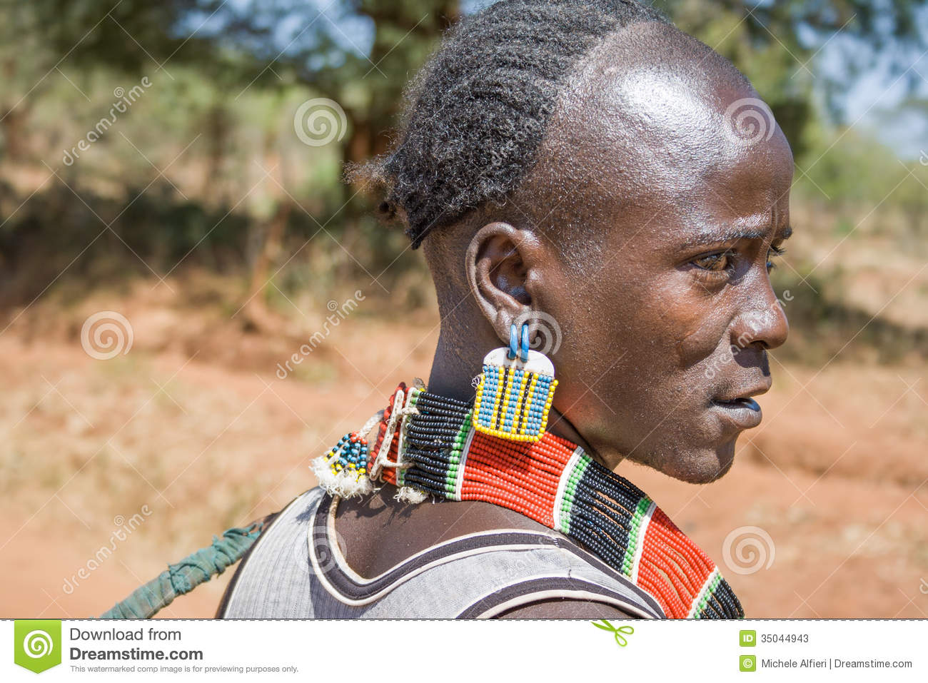 Closeup Of Man Of The Ethnic Hamer Banna Group Ethiopia