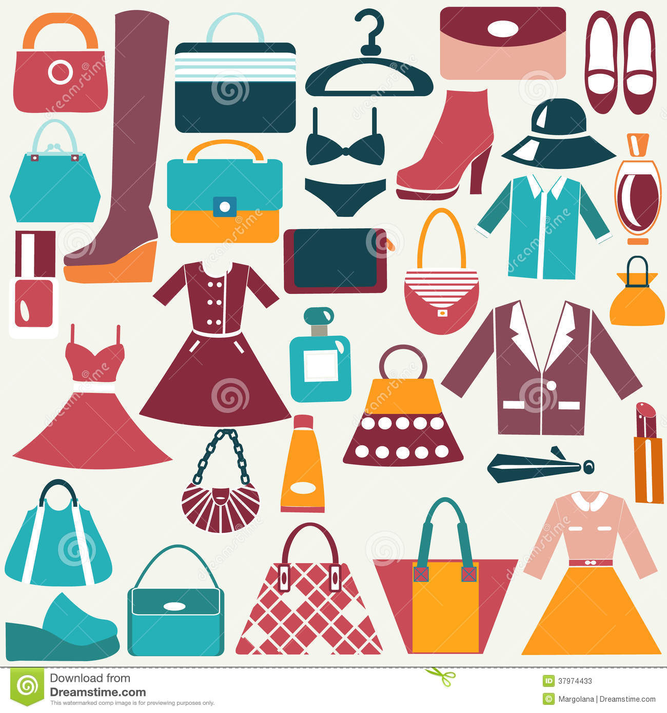 Clothes And Accessories Vintage Icons Stock Photos