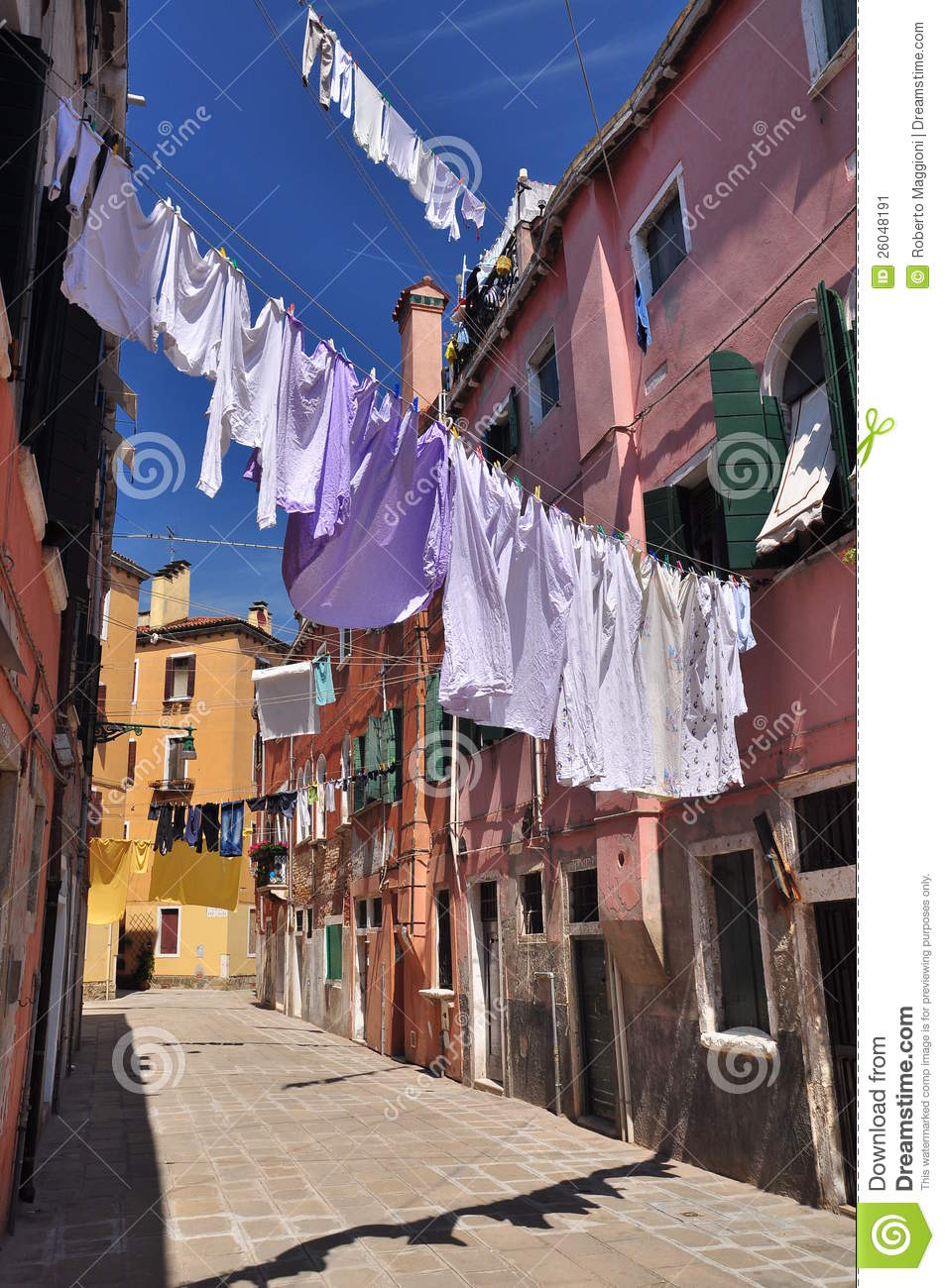 Clothes Line Hanging Above An Alley In Venice Stock Image  Image 26048191