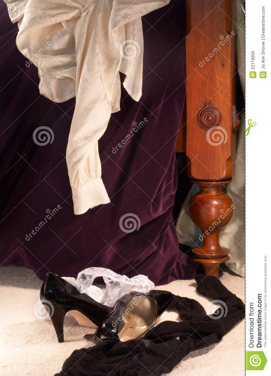 Clothes Scattered On The Morning After Stock Photo Image