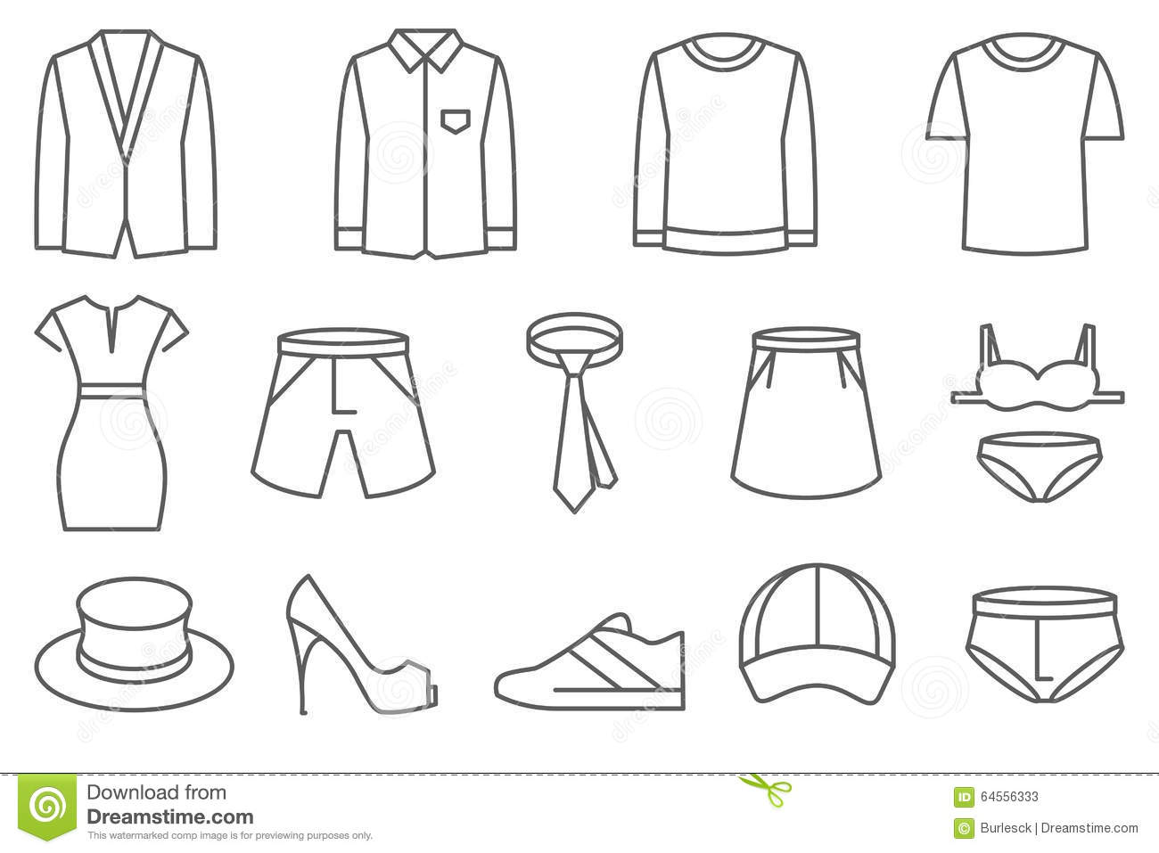 Clothes Vector Line Icons Set Stock Vector
