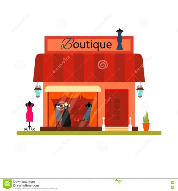 Clothing In Flat Style - Vector Illustration. Market