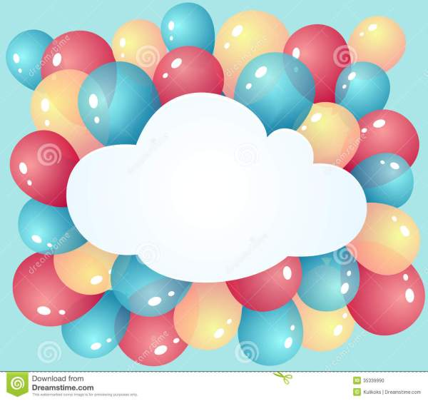 cloud with balloons stock vector