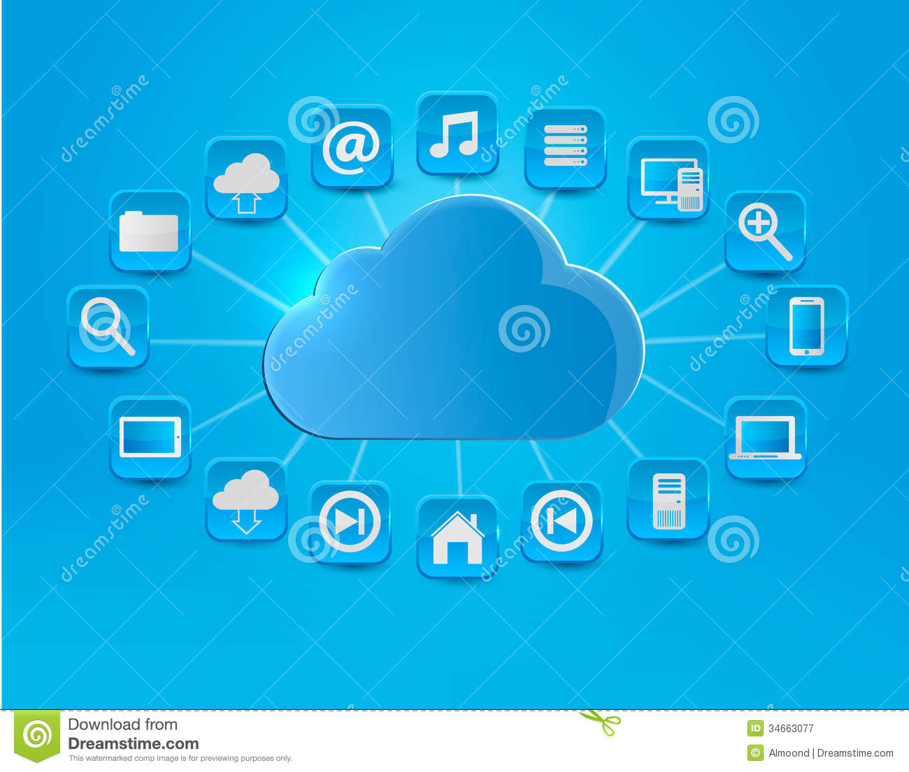 Cloud Computing Concept Background With Icons Stock