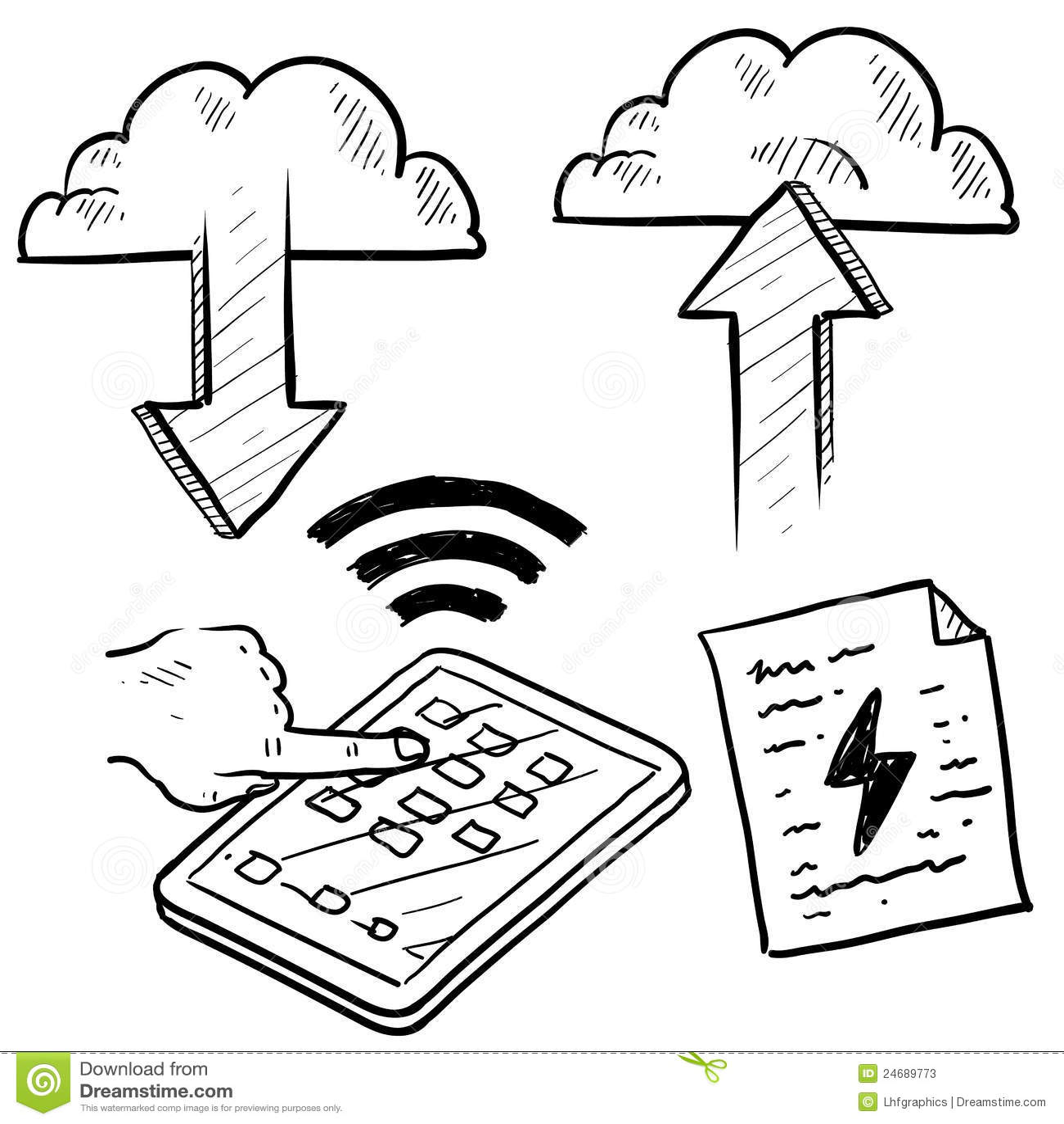 Cloud Computing Transfer To Computer Stock Illustration