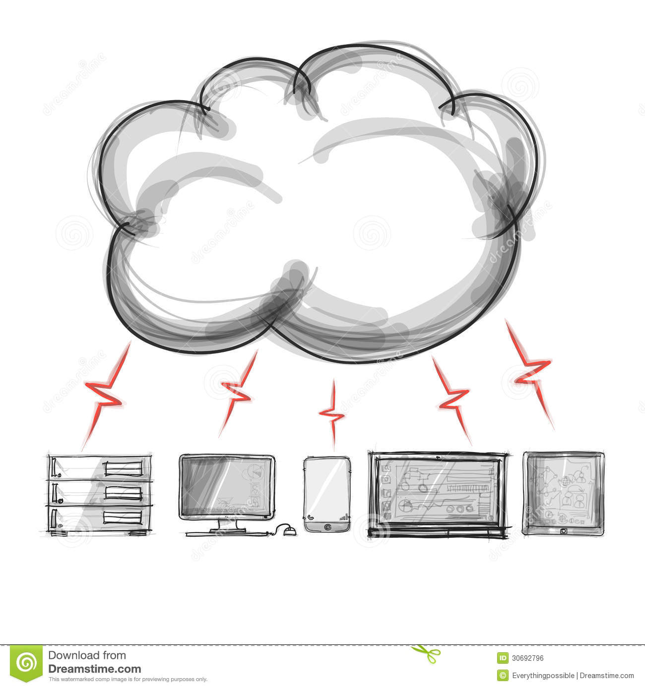 hight resolution of hand drawing a cloud computing diagram on the new computer interface
