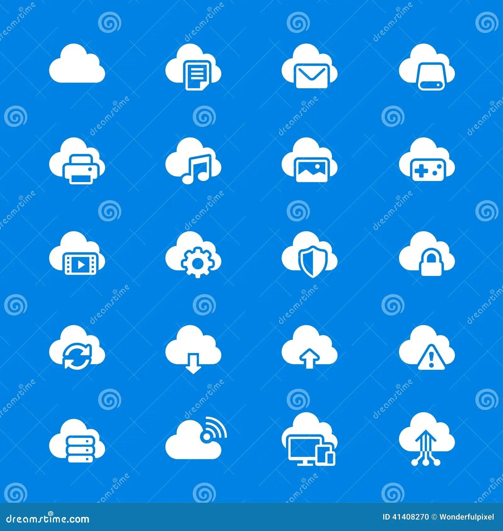 Cloud Computing Flat Icons Stock Vector