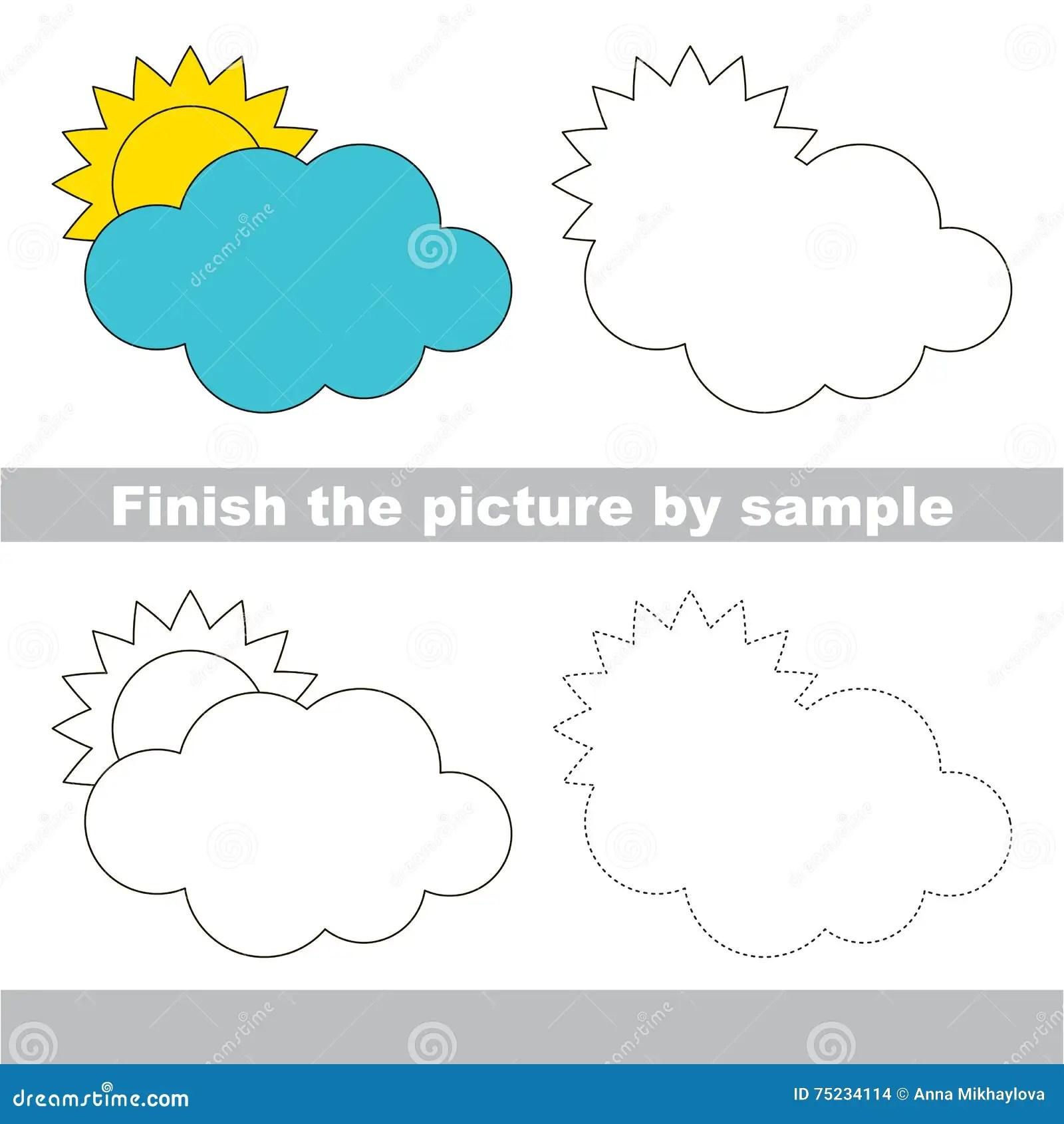 Cloud Drawing Worksheet Stock Vector Illustration Of