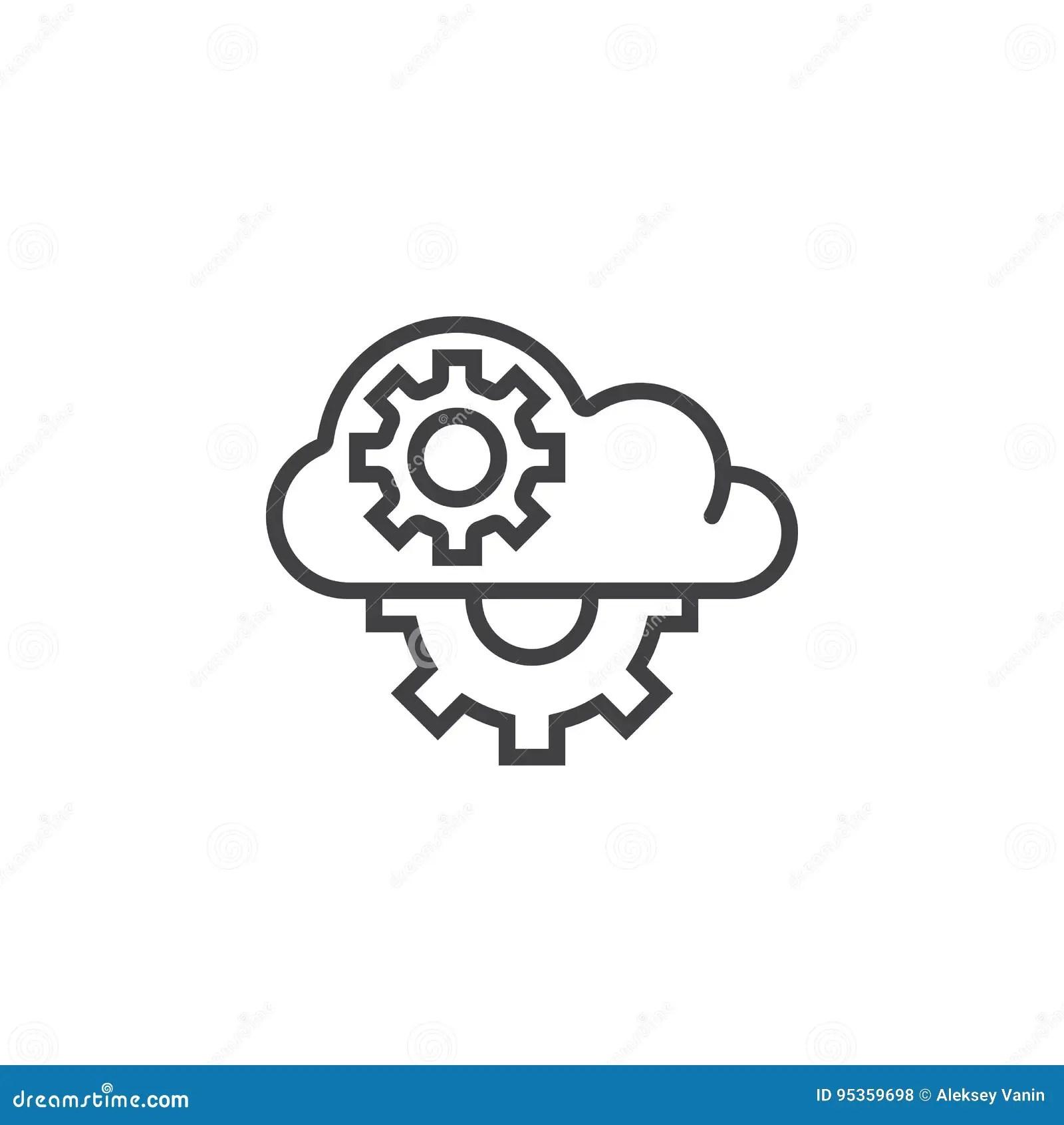 Cloud Computing Gears Cartoon Vector