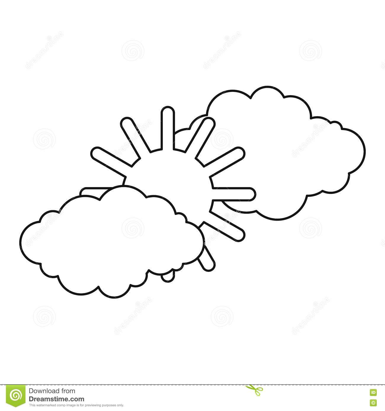 Clouds And Sun Icon Outline Style Stock Vector