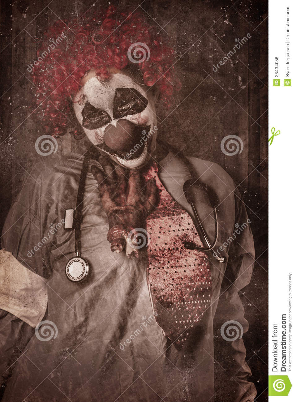 Clown Doctor Being Strangled By Autopsy Limb Stock Photo  Image 36434056