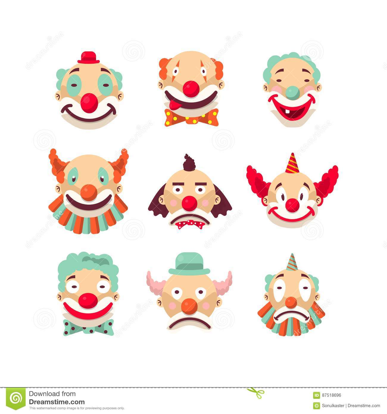 Clown Faces Vector Isolated Icons Set Stock Vector