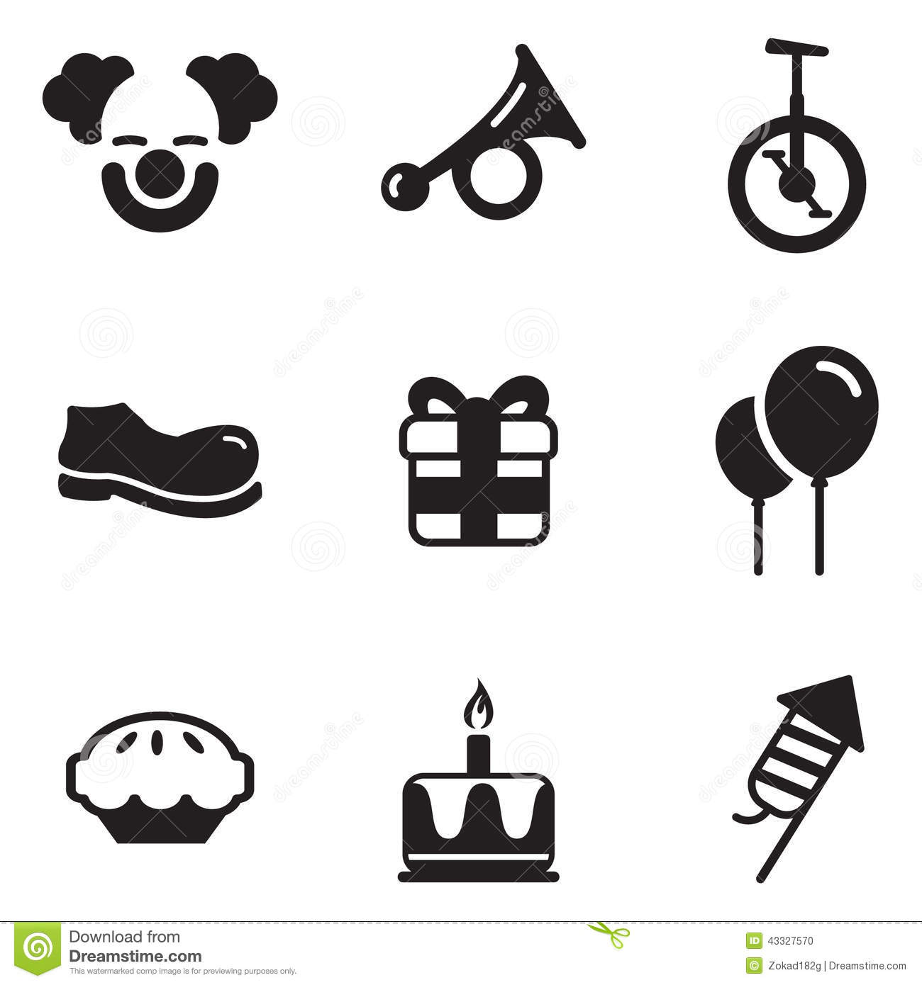 Clown Icons Stock Vector Image 43327570