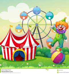 a clown standing above the ball at the carnival stock jpg 1300x1233 illustration birthday carnival clipart [ 1300 x 1233 Pixel ]