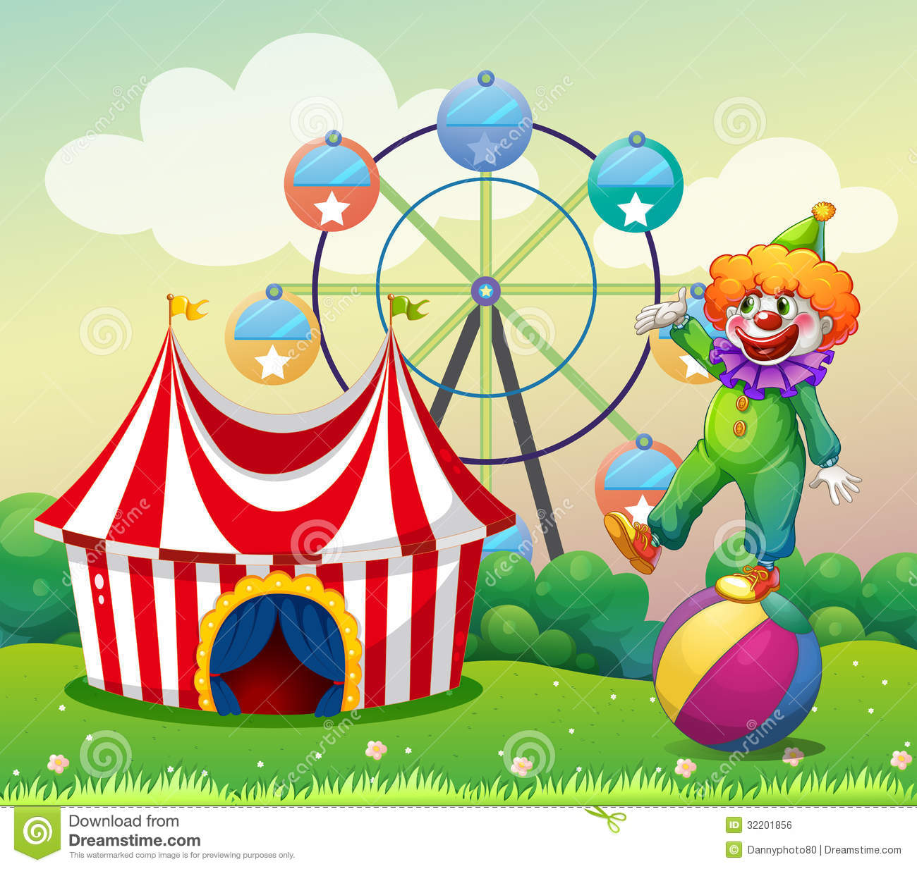hight resolution of a clown standing above the ball at the carnival stock jpg 1300x1233 illustration birthday carnival clipart