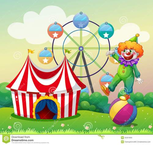 small resolution of a clown standing above the ball at the carnival stock jpg 1300x1233 illustration birthday carnival clipart