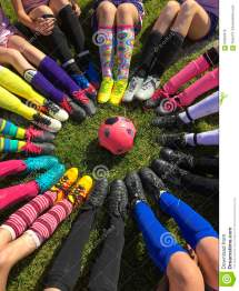 Girls Soccer Team Cleats in a Circle
