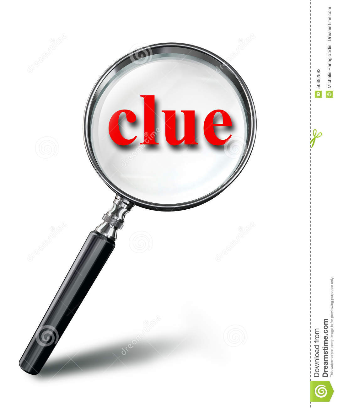 Clue Red Word Mystery Concept With Magnifying Glass Stock