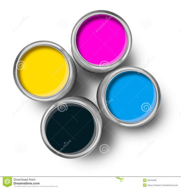 Cmyk Color Paint Tin Cans Top Royalty Free Stock - 20310436