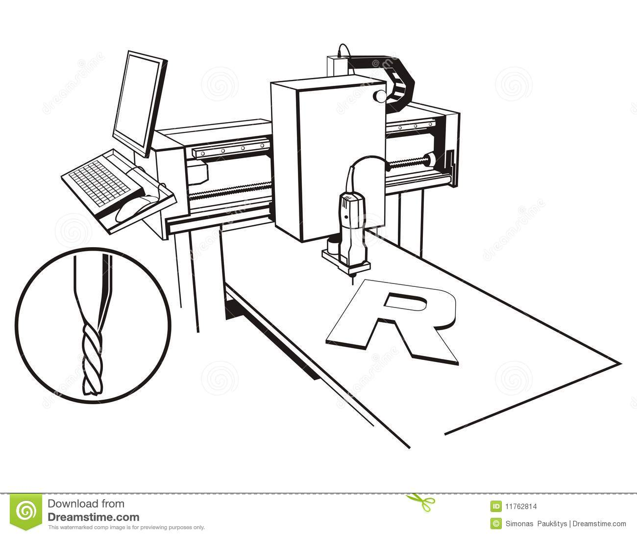 Cnc Stock Vector Illustration Of Graphic Work Isolated
