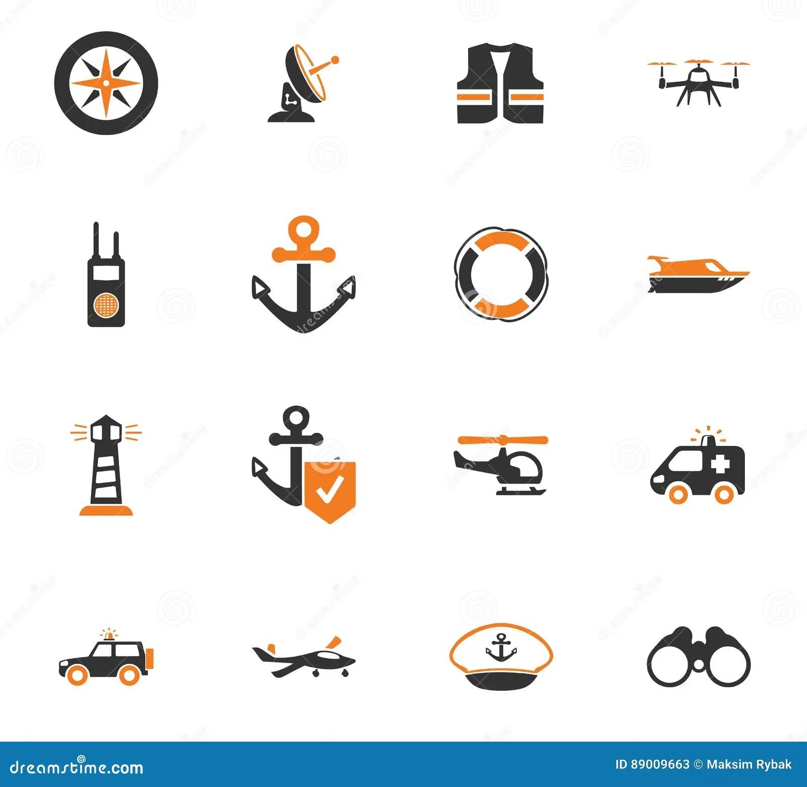 Coast Guard icons set stock illustration. Illustration of