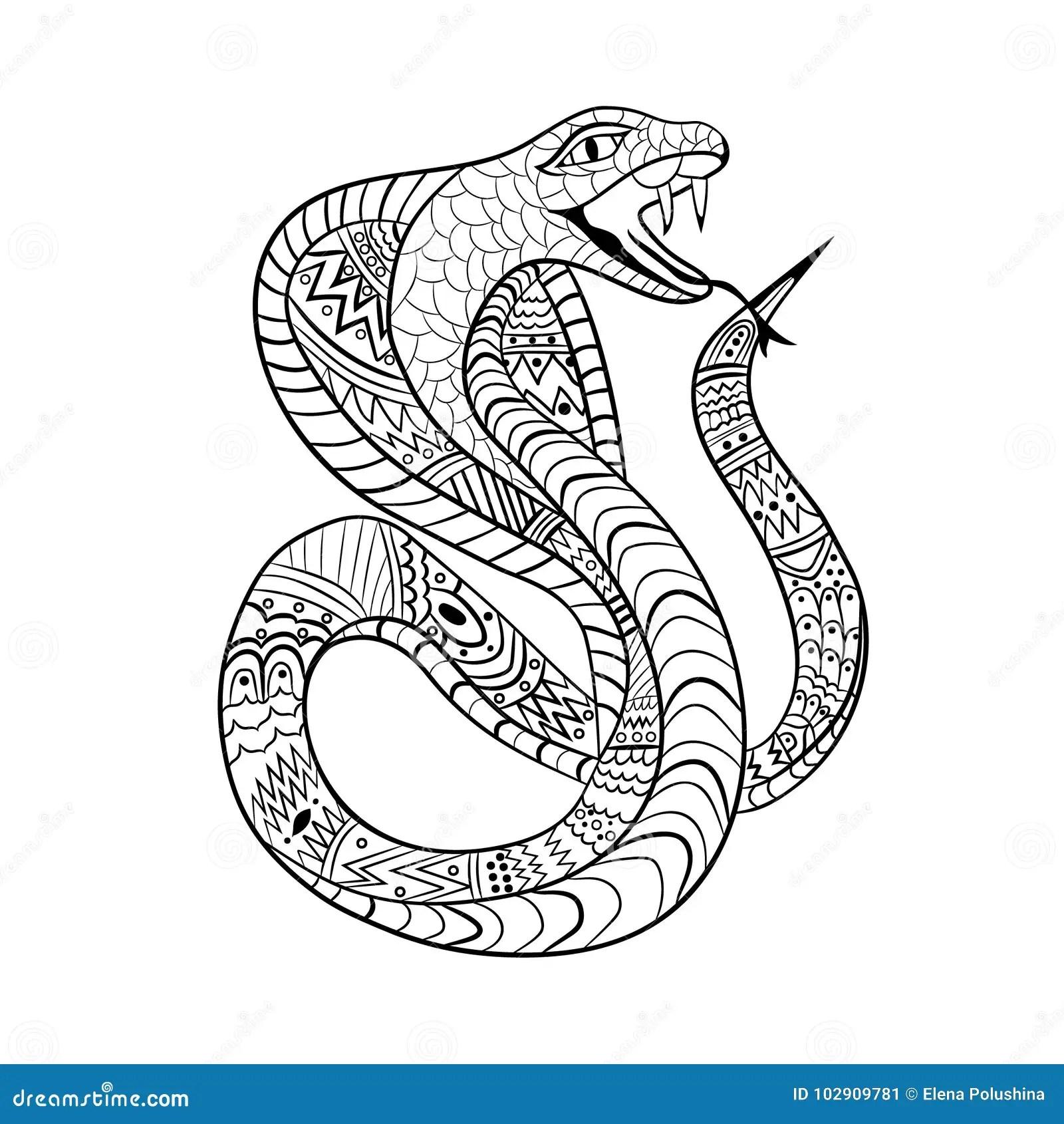Cobra Zentangle. Ethnic Ornament Of The Snake. For Tattoo
