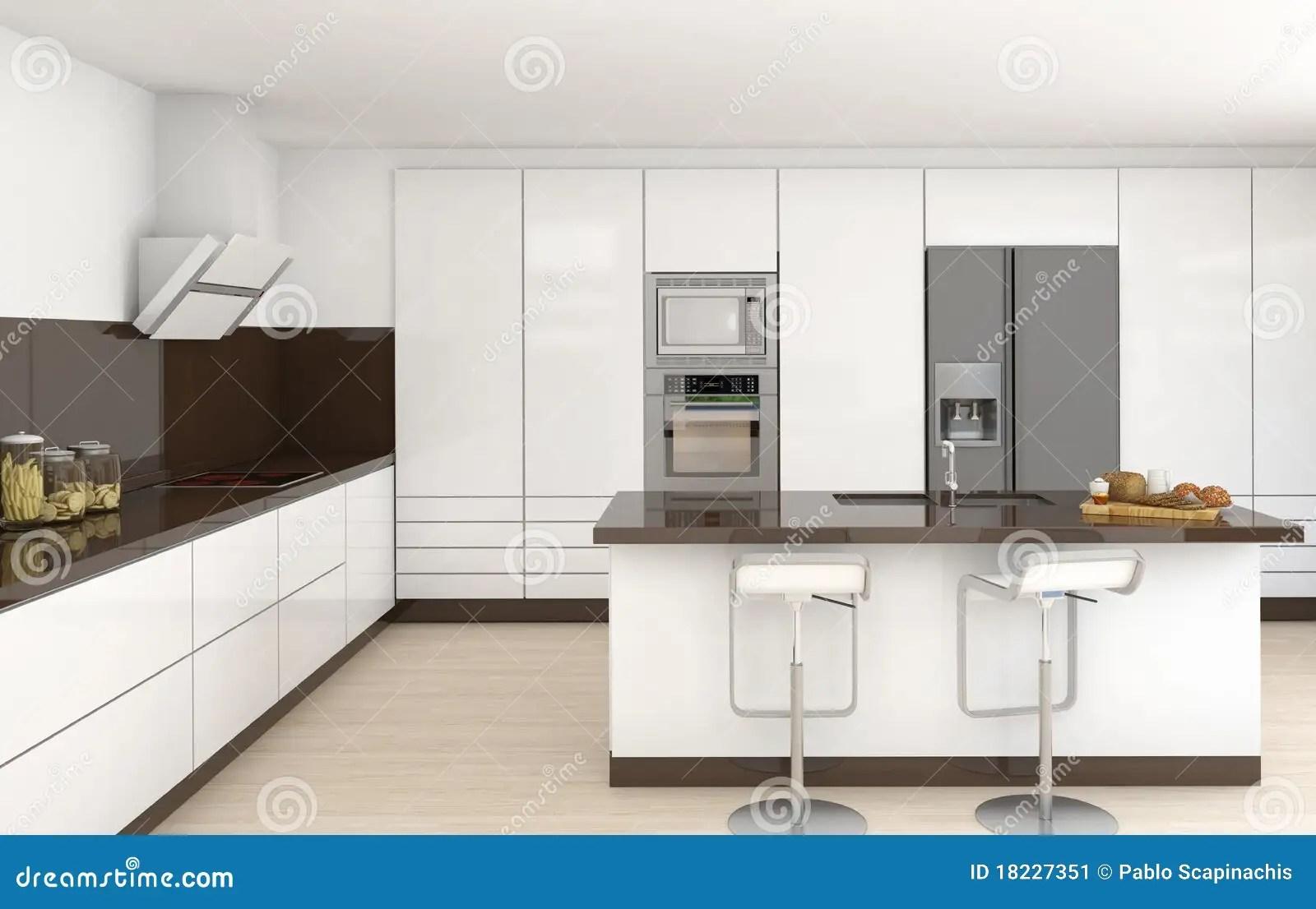 Cocina blanca y marrn interior