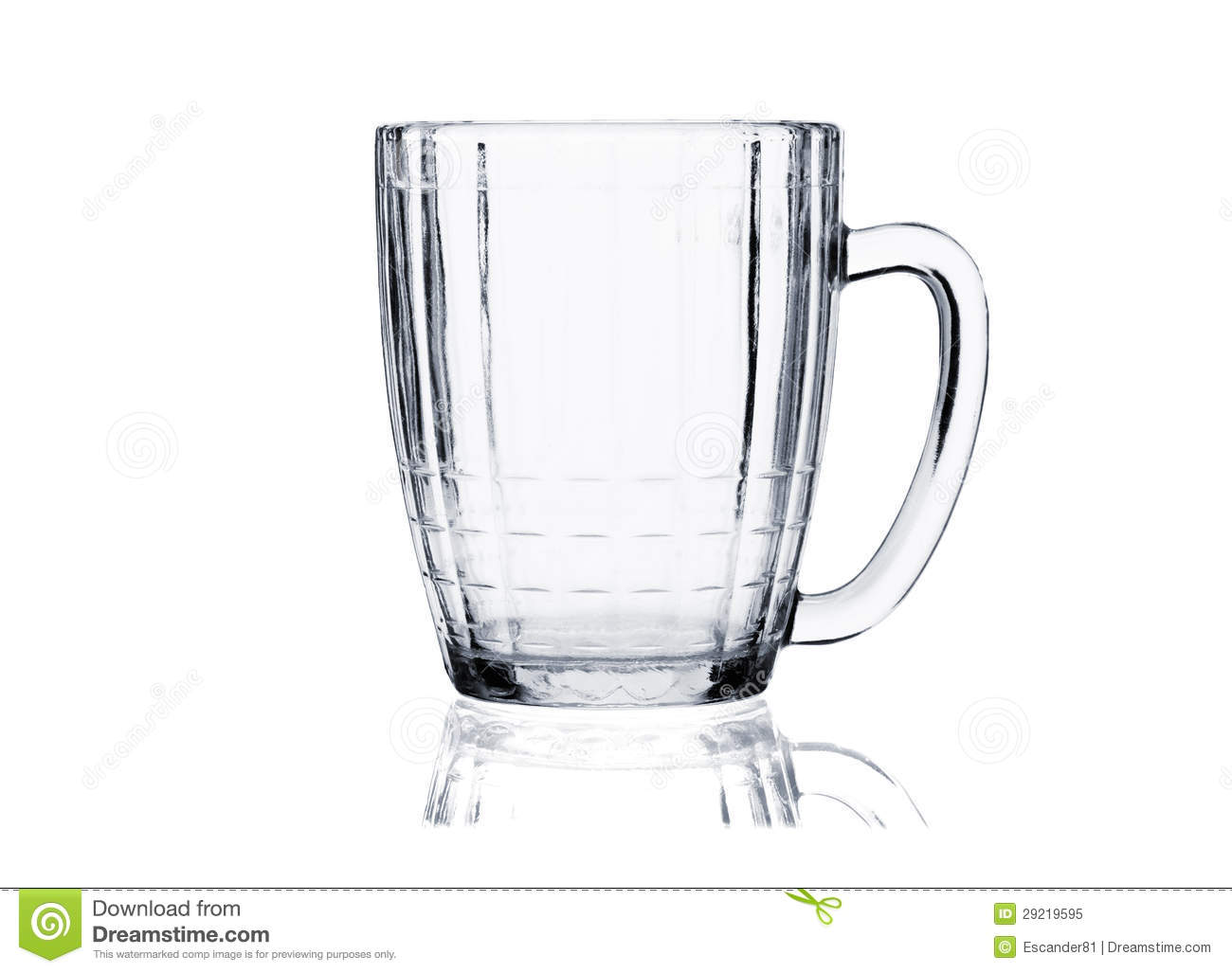 Cocktail Glass Set Empty Beer Mug On White Royalty Free