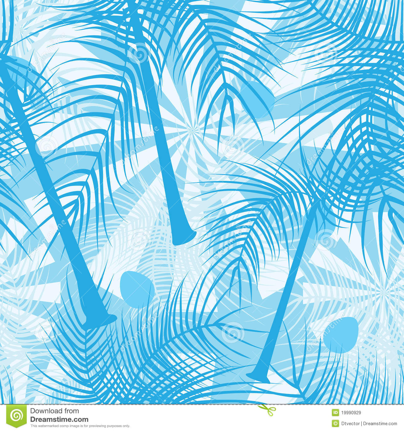 Animal Print Wallpaper Border Coconut Trees Blue Color Seamless Pattern Eps Royalty Free